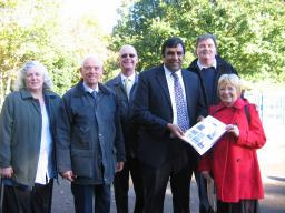 Local Chapeltown Lib Dems with Cllr Shaffaq Mohammed and members of Friends of Chapeltown Park, (l-r) Cllr Victoria Bowden, Graham Oxley Chair of Friends of Chapeltown Park, Cllr Colin Taylor, Cllr Shaffaq Mohammed, John Bowden and Doris Denton Secretary of Friends of Chapeltown Park.